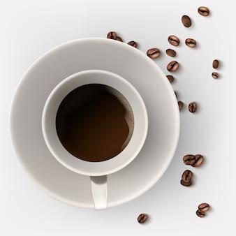 Uma xícara de café quente. grãos de café.