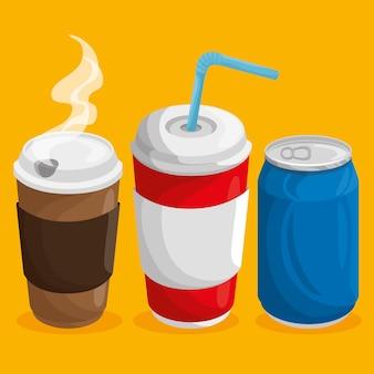 Uma xícara de café quente, uma lata de refrigerante e uma xícara de refrigerante com palha