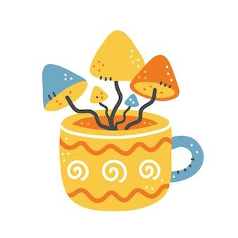 Uma xícara de chá fofa com cogumelos dentro