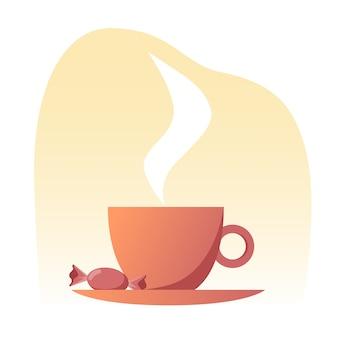 Uma xícara de chá quente em um pires com um doce doce em cores quentes.