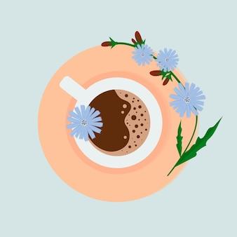 Uma xícara de chicória e flores de chicória. bebida saudável e natural.