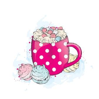Uma xícara de chocolate quente com marshmallows.