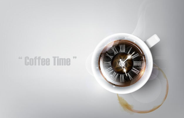 Uma xícara realista de café preto e mancha de xícara de café com conceito de relógio de café, ilustração