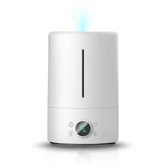 Umidificador de ar, no ícone de ilustração de fundo branco. aparelho de limpeza e umidificação do ar para a casa.