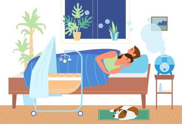Umidificador de ar ultrassônico trabalhando no quarto com a família dormindo