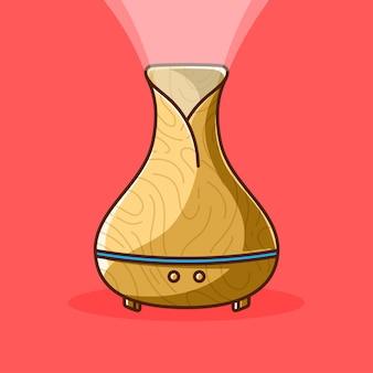 Umidificador, difusor de ar, desenho em madeira, ilustração dos desenhos animados