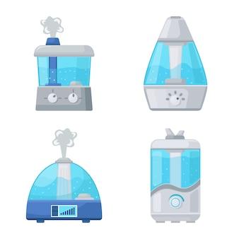 Umidificar equipamento conjunto de ícones de desenhos animados