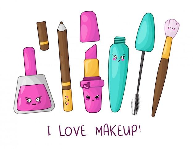 Unha polonês, batom, rímel, lápis de sobrancelha, pincel de maquiagem