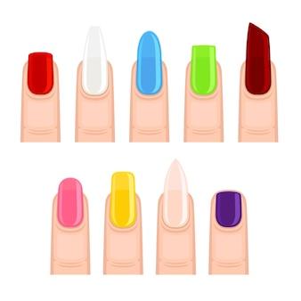 Unhas após manicure de diferentes formas e cores. ilustração em fundo branco.