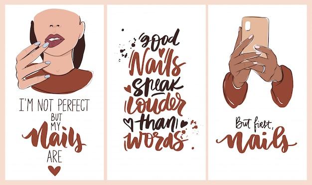Unhas e manicure com mãos de mulher, frases manuscritas letras. papel de parede para mídias sociais ou redes histórias fundos