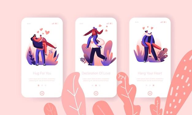 União de corações amorosos, conjunto de tela a bordo da página do aplicativo móvel de conexão de emoção.
