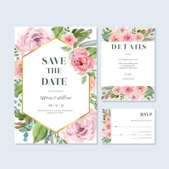 União floral feliz do cartão do convite do jardim do cartão de casamento, detalhe do rsvp.