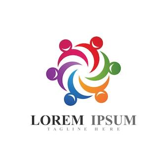 União ou logotipo do trabalho em equipe e imagem vetorial de símbolo