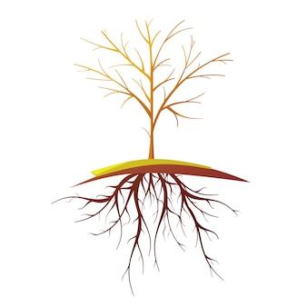 Única árvore careca pequena com desenhos animados retrô plana de raízes isolada ilustração vetorial
