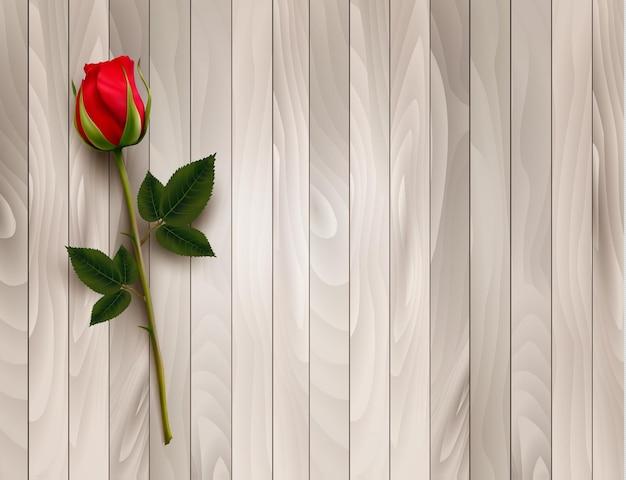 Única rosa vermelha em um fundo de madeira. vetor.