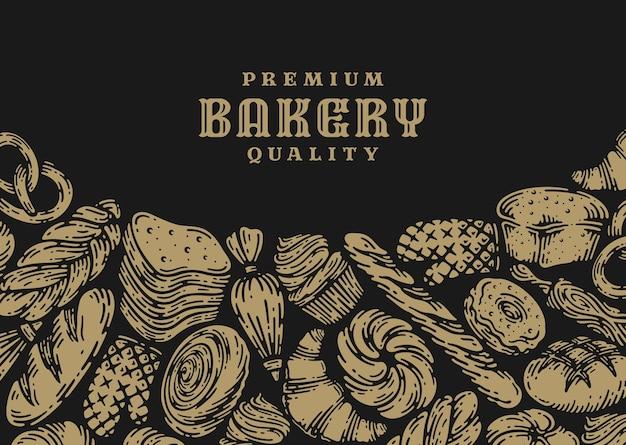 Único banner de padaria em design vintage.