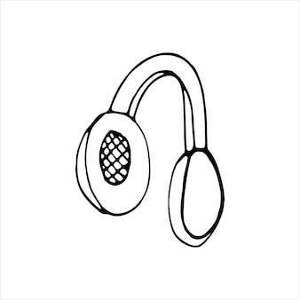 Único elemento de fones de ouvido em conjunto de doodle musical. mão-extraídas ilustração vetorial para cartões, cartazes, adesivos e design profissional.