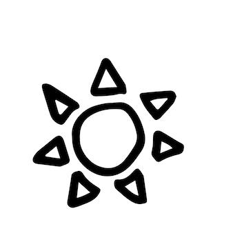 Único elemento do sol no conjunto de verão doodle. ilustração em vetor desenhada à mão