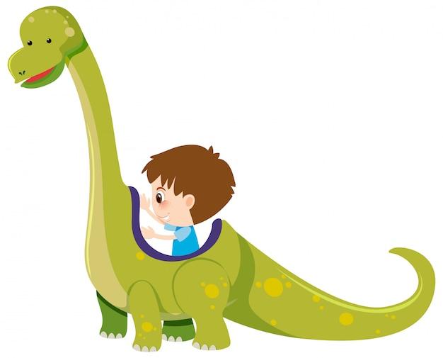 Único personagem de menino e dinossauro em branco