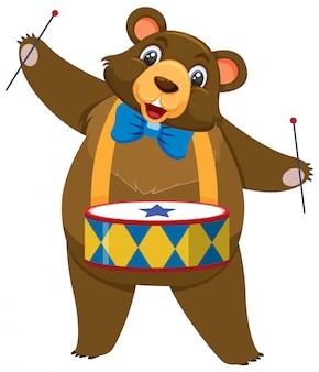 Único personagem de urso de circo em fundo branco
