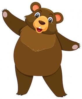 Único personagem de urso pardo em branco