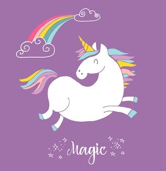 Unicon mágico fofo e pôster de arco-íris, cartão de aniversário