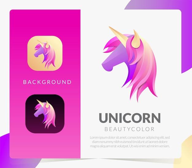 Unicorn abstract logo gradient style