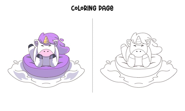 Unicorn beauty in purple Vetor Premium