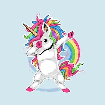 Unicorn bonito dabbing estilo dança arco-íris colorido