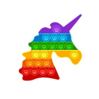 Unicorn pop it trendy jogo anti-stress brinquedo de mão com bolhas nas cores do arco-íris