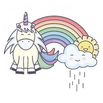 Unicórnio adorável fofo com nuvens chuvosas e arco-íris