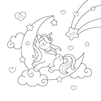 Unicórnio adormecido na lua e estrelas desenhando a página para colorir