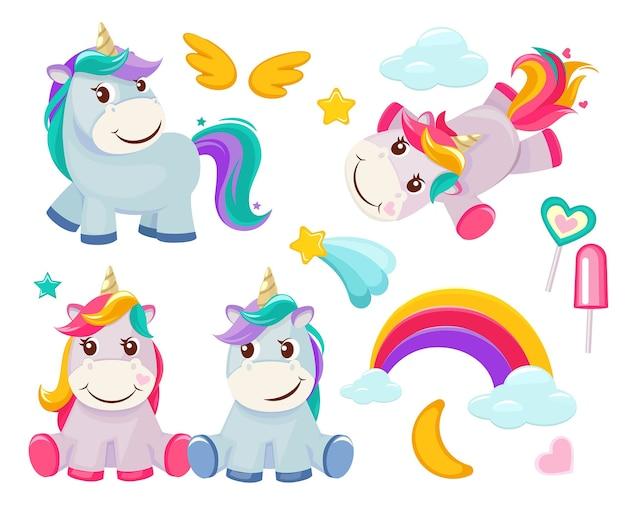 Unicórnio. animais fofos mágicos feliz aniversário símbolos pequeno pônei bebê cavalo imagens coloridas dos desenhos animados. ilustração de bebê unicórnio, cavalo animal, sonho de pônei
