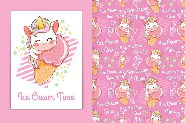 Unicórnio bebê fofo abraçando a ilustração dos desenhos animados de sorvete e um conjunto de padrões sem emenda