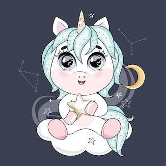 Unicórnio bonitinho com cabelo azul, segurando uma estrela e sentado na nuvem no céu noturno.