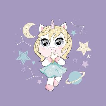 Unicórnio bonitinho com cabelo loiro, segurando uma estrela e dançando no céu noturno. estilo moderno, cores pastel modernas.
