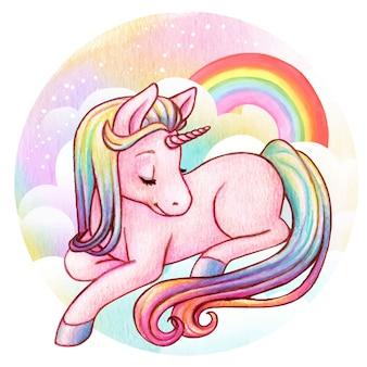 Unicórnio bonito arco-íris aquarela
