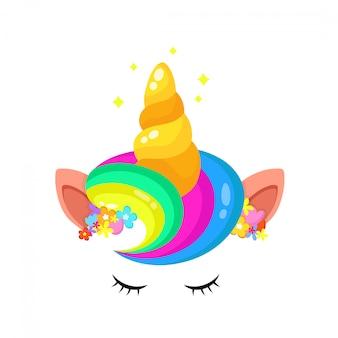 Unicórnio bonito arco-íris cabelo e chifre com flores grinalda máscara facial e estrelas.