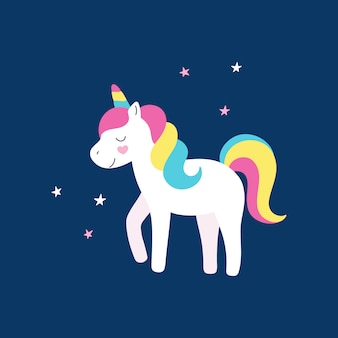 Unicórnio bonito arco-íris ilustração