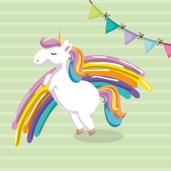 Unicórnio bonito com cartão de aniversário de caráter do kawaii do arco-íris