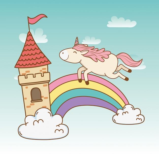 Unicórnio bonito conto de fadas com arco-íris nas nuvens