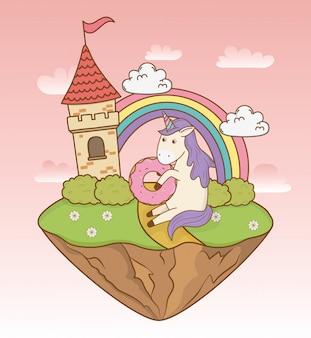 Unicórnio bonito conto de fadas com castelo e arco-íris