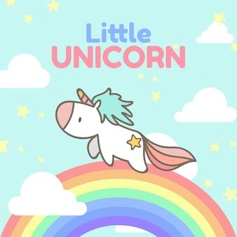 Unicórnio bonito correndo no arco-íris.