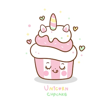 Unicórnio bonito cupcake dos desenhos animados cor pastel