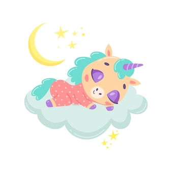 Unicórnio bonito dos desenhos animados dormindo numa nuvem.