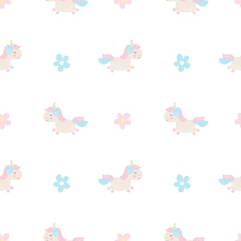 Unicórnio bonito dos desenhos animados, sem costura, bebê, vetorial, padrão, fundo, ilustração com flores pastel