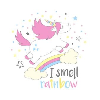 Unicórnio bonito mágico no estilo dos desenhos animados com rotulação da mão eu cheiro o arco-íris. unicórnio voando acima um arco-íris e nuvens