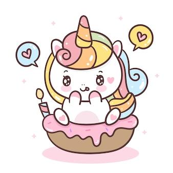 Unicornio bonito no cupcake de aniversário