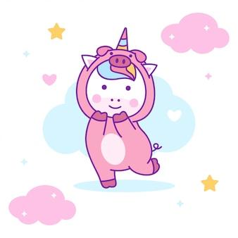 Unicórnio bonito vestindo fantasia de porco