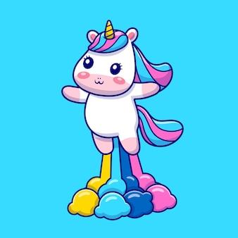 Unicórnio bonito voando com ilustração do ícone dos desenhos animados do arco-íris.